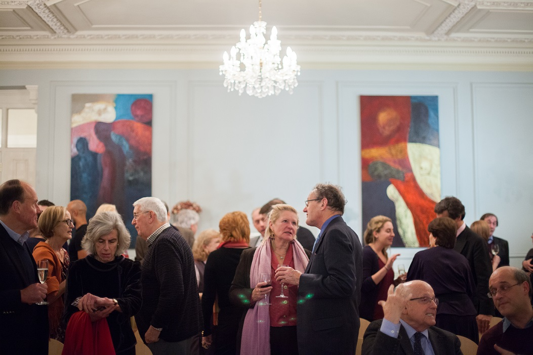 Mingling at the launch party, December 2014