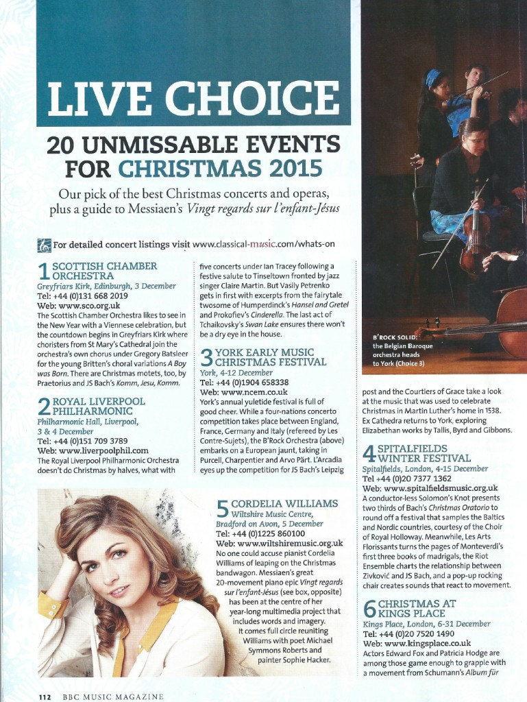 '20 Unmissable Events This Christmas', BBC Music Magazine, December 2015