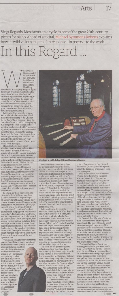 Guardian article by Michael Symmons Roberts, on his poetry and Messiaen's music