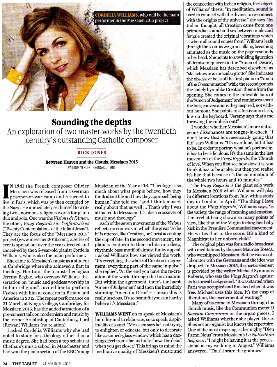Interview with Cordelia in The Tablet, March 2015